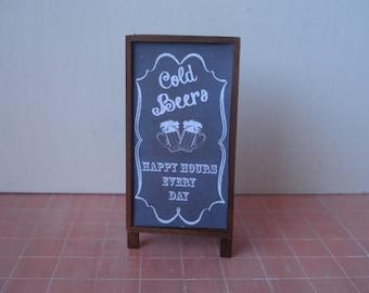 Dollhouse miniature  blackboard,  Miniature pub chalkboard, one inch 1:12 scale menu, Miniature beer sign