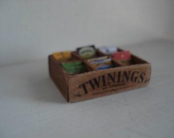 Dollshouse miniature box tea tisanes,  One inch 1:12 scale tea,  Dollshouse kitchen, miniature box tea - Dolls kitchen, miniature food