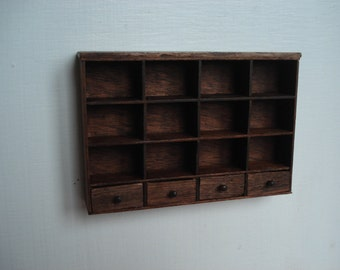 Dollshouse miniature shelves, furniture 1:12 scale one inch, miniature furniture, dollhouse kitchen, dollhouse furniture