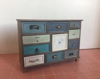 Casa delle bambole miniatura cassettiera, mobile miniatura, casa delle bambole mobili, mobili scala 1:12