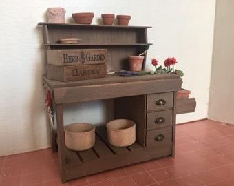 Dollshouse miniature furniture, one inch 1:12 scale gardening table, Miniature garden table, dollshouse table
