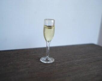 Dollshouse miniature champagne glass,  1:12 one inch scale wine,  miniature wine glass, miniature food,  dollshouse kitchen