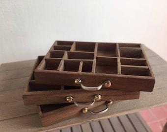 Miniature typography drawer, miniature furniture, miniature one inch 1:12 scale furniture, dollshouse furniture