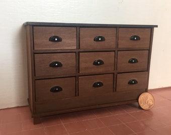 Dollshouse miniature furniture, one inch 1:12 scale furniture, Miniature chest of drawers, dollhouse dresser