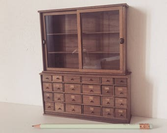 Miniature shop furniture, dollshouse furniture, miniature chest of drawers, miniature shelves, one inch scale furniture furniture