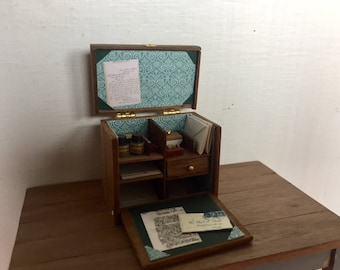 Dollshouse miniature writing box, one inch 1:12 scale stationery box, dollshouse office, miniature chest