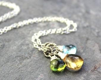 Gemstone Citrine Necklace Sterling Silver Blue Topaz Peridot Pendant Necklace Semi Precious