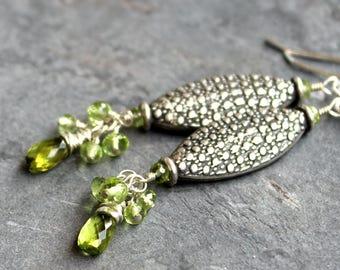 Peridot Earrings August Birthstone Sterling Silver Long Dangle Clusters Green Gemstones Textured Beads