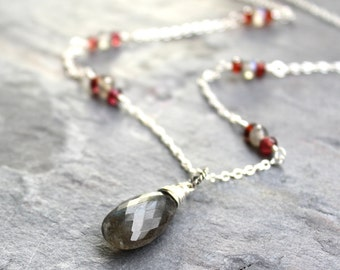 Labradorite Necklace Sterling Silver Wire Wrapped Gray Gemstone Garnet Beaded Pendant Necklace