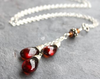 Spessartite Garnet Necklace Teardrop Pendant Sterling Silver Red Orange Rustic
