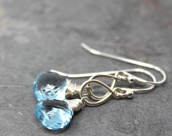 Blue Topaz Earrings November Birthstone Blue Gemstone Briolette Sterling Silver Dangle Earrings Teardrop