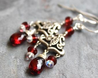 Chandelier Garnet Earrings Sterling Silver Art Deco Marcasite Red Gemstone Earrings