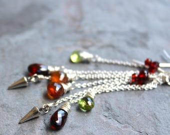 Long Statement Multi Gemstone Earrings Sterling Silver Garnet Peridot Staggered Chains Red Green Orange