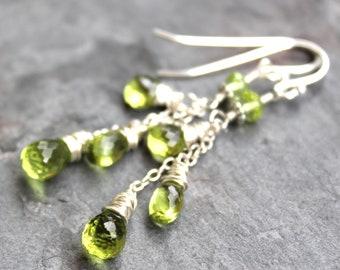 Dangling Peridot Earrings Sterling Silver Gemstone Cascade August Birthstone