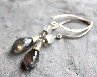 Labradorite Earrings Sterling Silver Gray Gemstones Rainbow Moonstone Arched Earwires