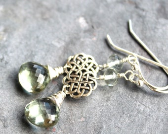 Prasiolite Earrings Green Amethyst Celtic Knot Sterling Silver Dangle Earrings