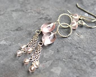 Rose Quartz Earrings Long Chain Pink Gemstone Earrings Sterling Silver