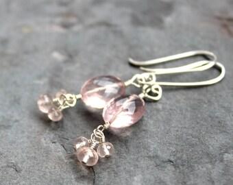 Rose Quartz Earrings Sterling Silver Dangle Cluster Beaded Pink Gemstone Earrings