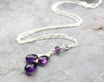 Amethyst Necklace Sterling Silver Teardrop Purple Pendant Gemstone Necklace February Birthstone