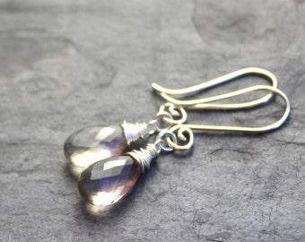 Ametrine Earrings, Sterling Silver Drop Earrings, Pale Pink Gemstone earrings, Semi Precious, Wire Wrapped, Delicate