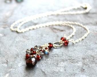 Garnet Necklace Labradorite Sterling Silver Deep Red Gray Gemstone Briolette Necklace January Birthstone