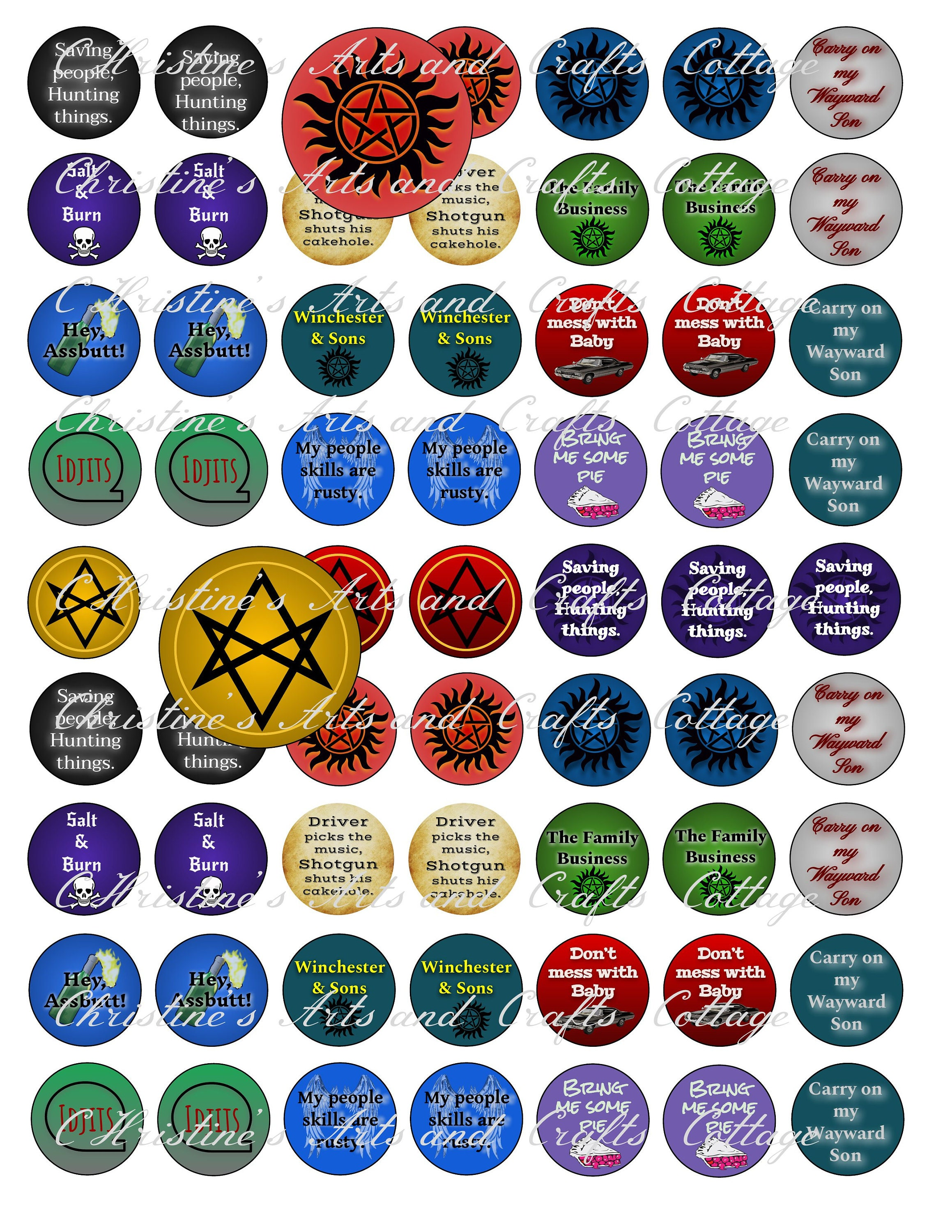 Supernatural Inspired Bottle Cap Graphics one inch round