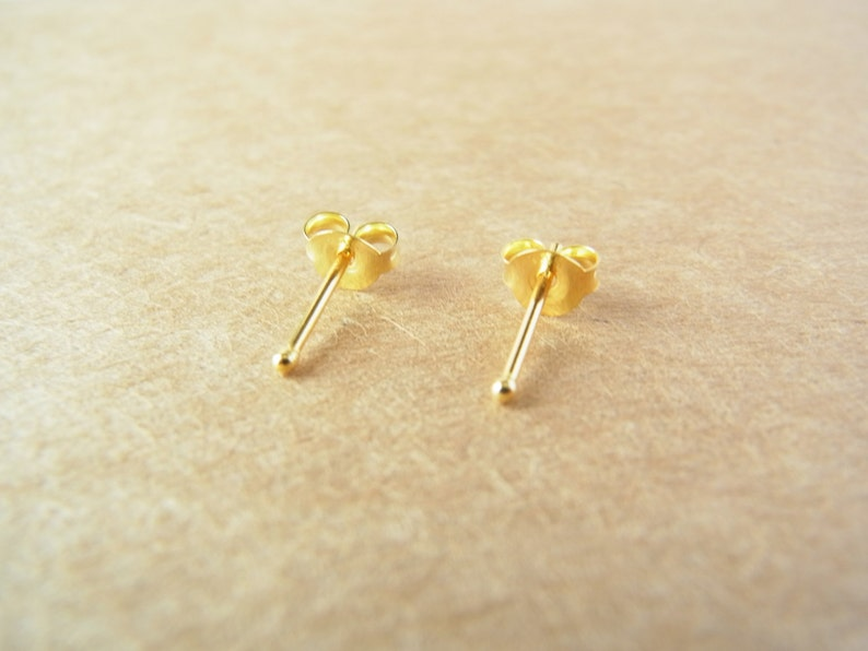 b10242355 1 pair of 1.5 mm Tiny 24K Gold Plated Ball Stud Earrings | Etsy