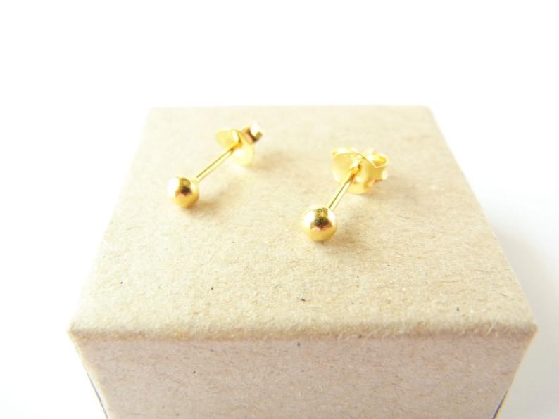 c7bcda14c 1 pair of 3 mm Mini 24K Gold Plated Ball Stud Earrings | Etsy