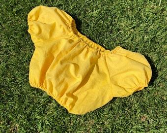 Off Shoulder Crop Top in yellow
