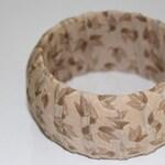 Classy Neutral Toned Bangle Bracelet Autumn Leaves Fabric Wrapped Wide Bangle Tan Taupe Sand Khaki Brown