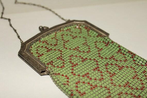 Vintage Mesh Purse-Enamel Mesh Bag-Chainmail Purse