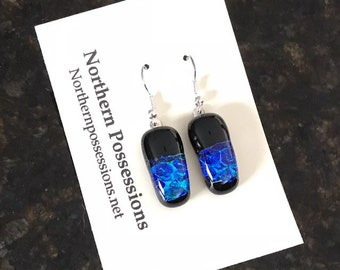 Blue & Black Dichroic Earrings