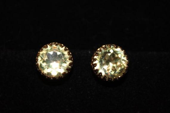 Austria Green Stone Clip On Earrings / Vintage Jew