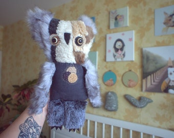 Tomomi   Owl  , soft art  creature textile doll by Wassupbrothers, snow hoot  beige grey gray brown  night owl , recycled  faux fur scrappy