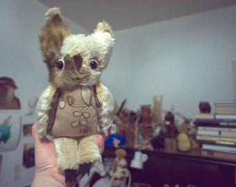 Henrietta   Owl , soft art  creature textile doll by  Wassupbrothers,  eared owl , recycled  faux fur hairy bird heirloom handmade handsewn