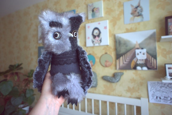 Reginald Owl , soft art  creature textile doll by  Wassupbrothers, snow  gray grey night owl , recycled  faux fur victorian lace bird