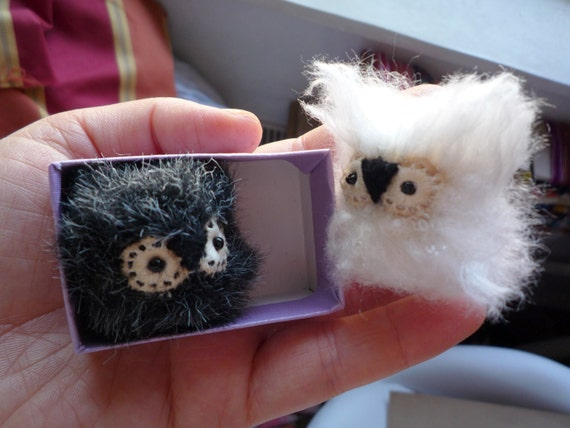 Olgita    -  Little  white tiny owlet, soft art miniature doll owl creature  by Wassupbrothers, made to order