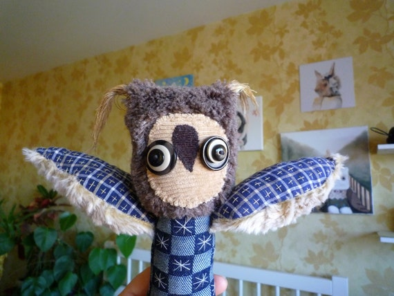 Boro Owl  ,soft art textile creature by Wassupbrothers, buho boho ,stuffed doll , recycled scrappy, bohemian faux fur feather creature