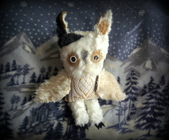 Fitzgerald owl ,soft art textile creature by Wassupbrothers, buho boho ,stuffed doll , recycled scrappy, bohemian faux fur sculpture