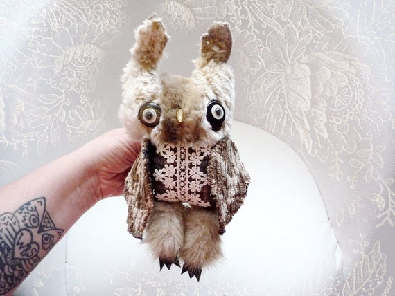 Lorna owl ,  soft art  creature  textile doll by   Wassupbrothers,  natural tones, retro woodland owl, recycled scrappy boho buho