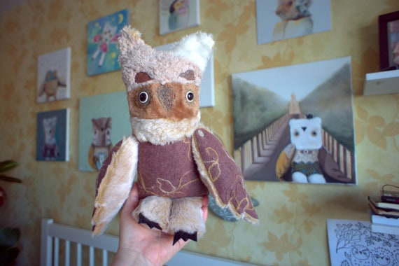 Boduzik  Owl   , soft art  creature textile doll by  Wassupbrothers, snow  beige brown  night owl , recycled  faux fur scrappy buho