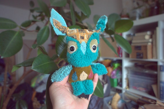 Benito owl ,soft art textile creature by Wassupbrothers,  boho , stuffed doll , recycled scrappy, turquoise colorful pocket friend