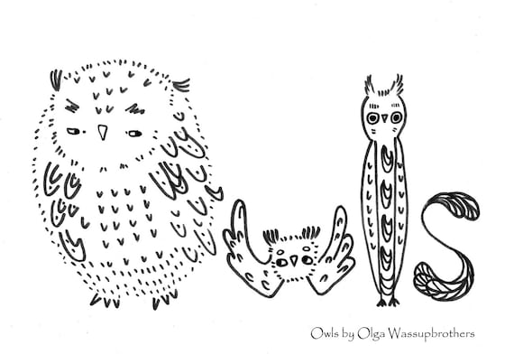 Owls Colouring page, embroidery pattern,  *Instant Download* by Wassupbrothers