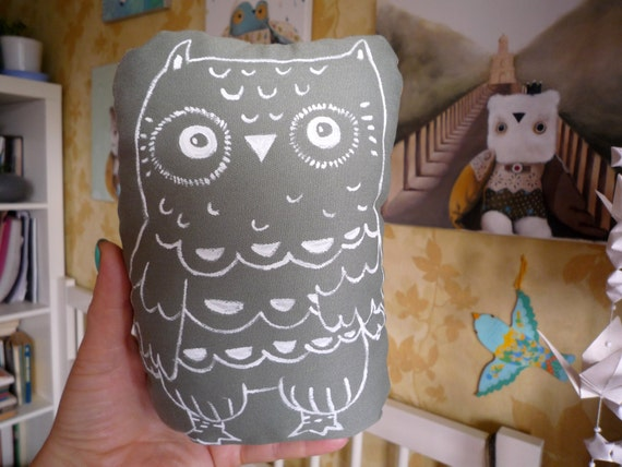 Fidji  Owl , soft art  creature doll  by  Wassupbrothers. stuffed textile art nursery wall decor, painted softie, shelf sitter, pebble totem