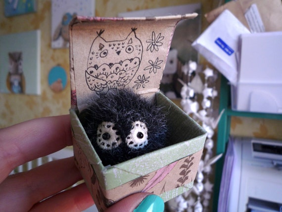 Pocito   -  Little  tiny owl, soft art  toy creature  by Wassupbrothers. Made to order , buho, miniature owl, blythe friend