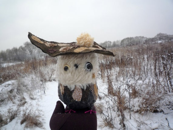 Diego  owl , textile soft standing art sculpture object ,doll  by Wassupbrothers, recycled fabric stylish owl in a hat