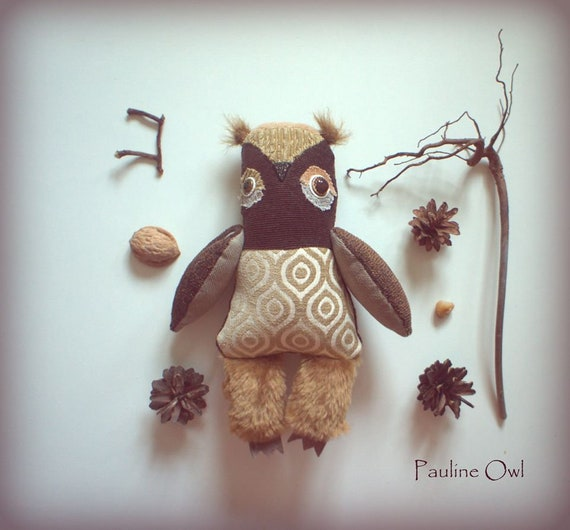 On exhibition  till  mid april . Pauline  owl ,soft art  creature  textile doll by Wassupbrothers, retro woodland  recycled scrappy   coffee
