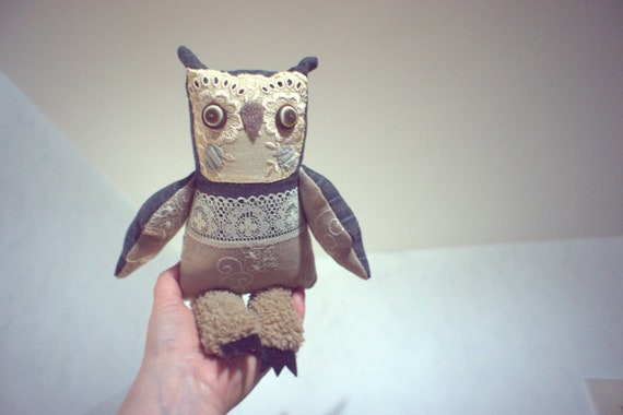 Sofya  owl  , soft art textile  creature   by  Wassupbrothers, buho boho  friend, stuffed  doll , recycled retro  vintage lacy  heirloom
