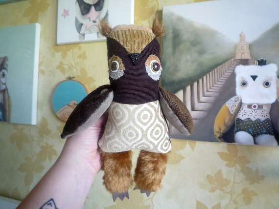 Pauline  owl ,  soft art  creature  textile doll by   Wassupbrothers, natural tones, retro woodland owl, recycled scrappy coffee soft friend