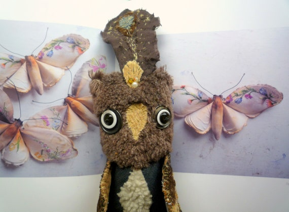 Henri Precioso owl ,soft art textile creature by Wassupbrothers, buho boho ,stuffed doll , recycled scrappy, bohemian faux fur feather